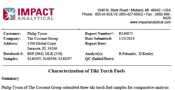 Intependent Lab Test of FireFly Tiki Torch Fuel vs. Big-Box Tiki Torch Fuel