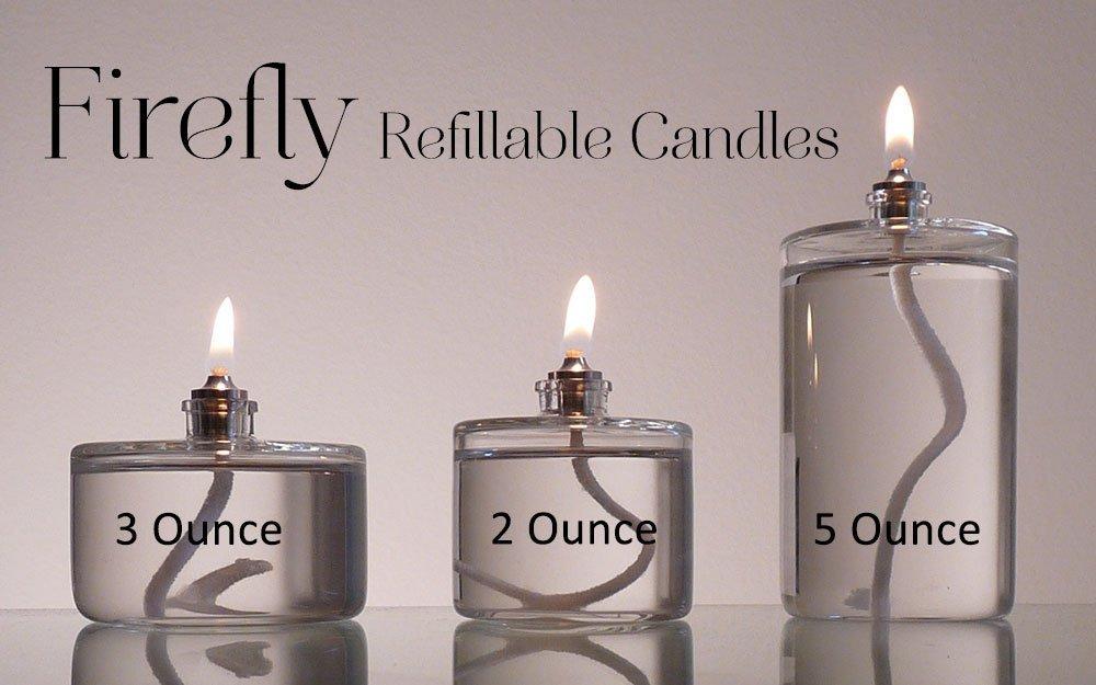 2-Ounce, 3-Ounce and 5-Ounce Refillable Glass Oil Candles
