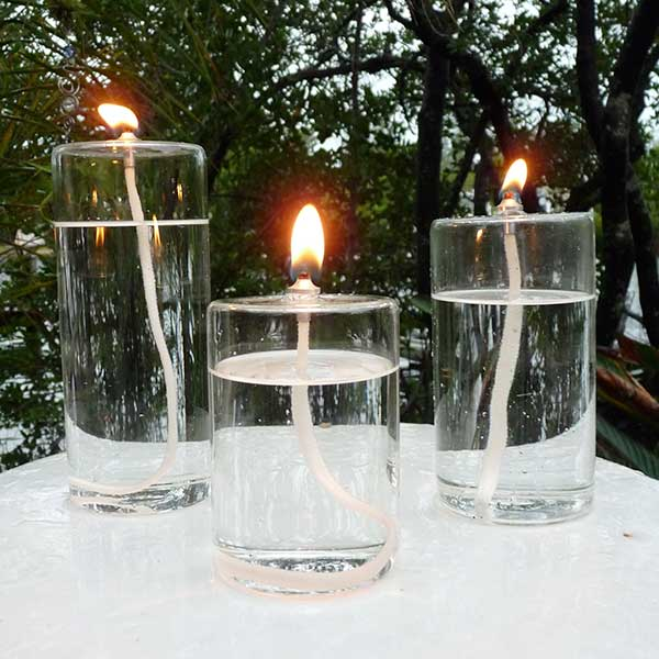 "4"", 5"" and 6"" glass pillar candles"