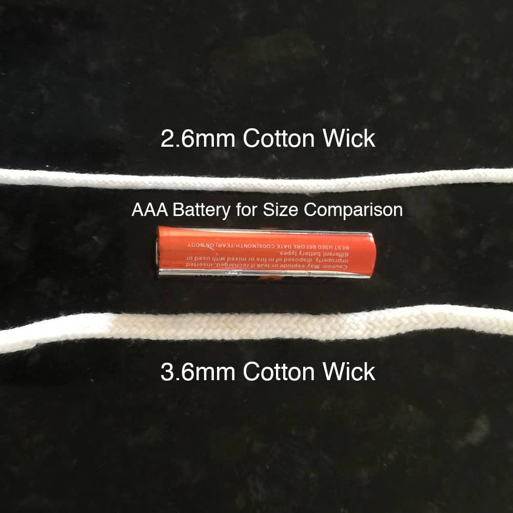 small cotton replacement candle wicks